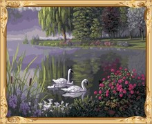 GX7688 paint boy brand swan paint by numbers modern oil painting for wall decor