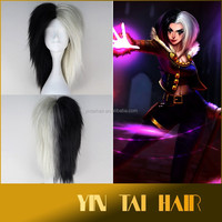 League of Legends LOL LeBlanc Short Straight Black Silver White Game Cosplay Wig