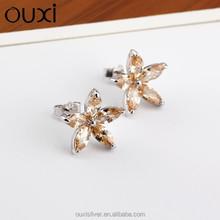 Ouxi jade lotus en forma de moda colorida zircon de la joyería pendientes, pendientes de plata esterlina para para Y20186