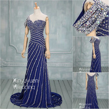 Real Sample Full beads crystal Sexy Long Evening Dress purple prom dress gown DancyEvening gown CYE-077