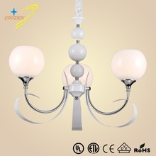 GZ20540-3P 3 light metal band chandelier with glass shade