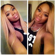 2015 new arrival Natural looking dark roots virgin Brazilian human hair wig for black women