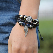 Wood Beads Vintage Angel Wings Charm Genuine Leather Bracelet For Women Men Jewelry