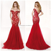 Sexy Fashion Lace Flowers Boat Neck Trumpet Mermaid Tulle Evening dresses Modern Long House western gowns party dresses FXL-937