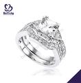 refinado de piedras preciosas plateado 18k oro blanco anillos de compromiso