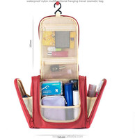 2015 Promotional Fashion Hanging Roll Up Toiletry Canvas Satin PU PVC Travel Cosmetic Bag