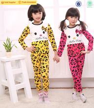 (AF546)7-10y Winter product girls bowknot spots cute animal printed to keep warm children sleepwear set wholesale cotton pajamas