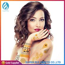 2015 caliente de la piel segura ecológico oro metálico etiqueta engomada del tatuaje temporal flash