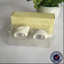 Customized Ribbon Color Lovely Bird Seasonings Bottle Ceramic Spice Jar Favors Wedding Gifts