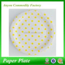 Wholesale disposable Yellow polka dot paper plates