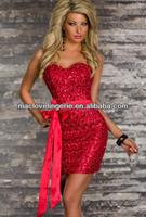 ML17903 Latest Design Full Red Tube Sequined Bling Bling Cocktail Dress