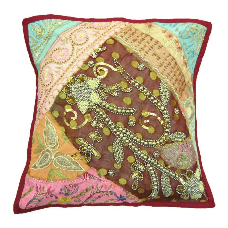 Multi-color capa de almofada de tapeçaria frisado bordado indiano PATCHWORK THROW