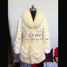 BG70569 Ladies New Fashion Rabbit Fur with Fox Fur Collar Coat