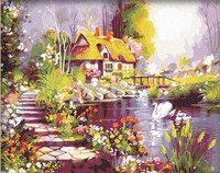 CLASSICAL LANDSCAPE VILLAGE SCENERY OIL PAINTING BY NUMBERS KITS