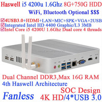 Fanless mini computer systems i5 with Intel Core i5 4200U 1.6Ghz Haswell Architecture SOC design 8G RAM 750G HDD windows Linux