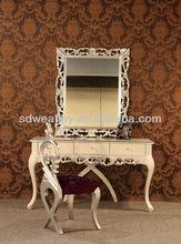 De color blanco tocador con silla / nuevo diseño de tocador con cajón y el espejo / muebles de estilo antiguo de 0025