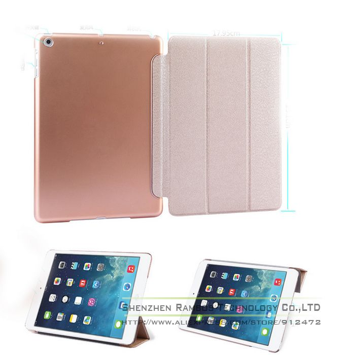 New Ultra Slim Light Smart Magnetic Cover for iPad air, Transparent Clear Pearly Silk Pattern PU Leather Stand Case for iPad 5