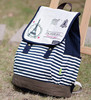 2015 Fashion Fresh Style Stripe Eiffel Tower Printing Canvas Satchel Bag Rucksack School Backpack Bag Knapsack For Girls Women