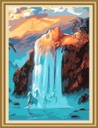 40*50cm yiwu factory waterfall landscape oil painting abstract painting