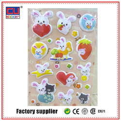 Colorful Cute Rabbits Fruit Puffy Sticker High Quality