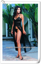 ladies black sheer lingerie,sexy transparent sleeping gown A4009