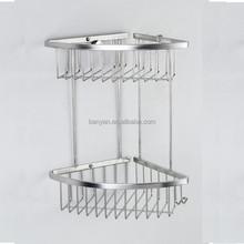 Contemporary stylish tempered glass metal bathroom shelf
