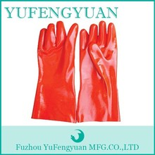 Red color 100% cotton inerlock lined/ oil and chemical resistant PVC Glove