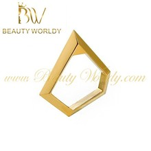 2015 latest design gold plated jewelry geometric ring