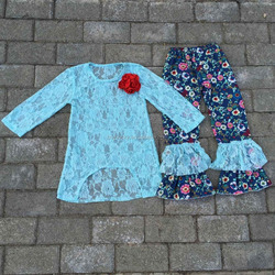 Newly design ! boutique festival outfits which contain lace top with noticeable flower and floral print 2 levels ruffle pants