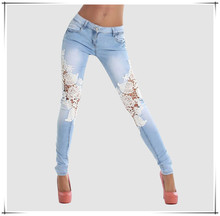 2015 New Arrival Women's Slim Skinny Lace Jeans Fashion Girls Pants sexy ladies leggings women jeans jeans wholesale price F54