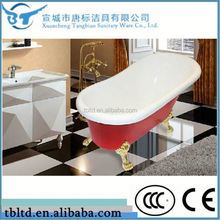 Italy acrylic freestanding clawfoot tub wooden bathtub