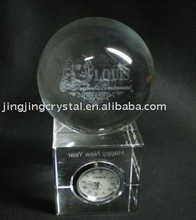 crystal engraving ball with clock base