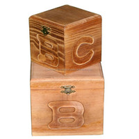Antique Effect Pine Wood Box with Carved Letters