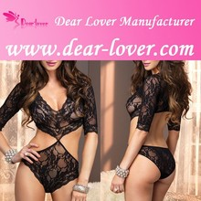 Sexy Nude Girls in Sexy Deep V Lace Teddy Lingerie Sex Movis