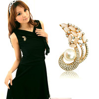 Wholesale price pearl brooch from italina rigant brooch with flower brooch with hijab pin needle