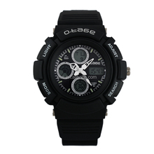 Rubber Strap Boys Black Digital Analog Dual Sport Watch WS074
