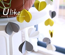 2.5 M White yellow and grey felt heart flags bunting banner
