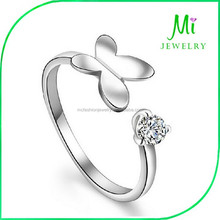 Fashion 925 Silver Ring with CZ Diamond Butterfly Shape Adjustable Size