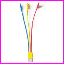 3 in 1 round data usb cable charging cable for iPhone/iPad/Samsung multi usb cable