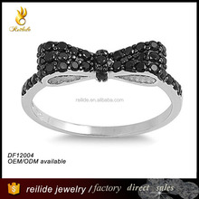 925 sterling silver Micro Pave Cz Bow Tie Ring with black and white stone