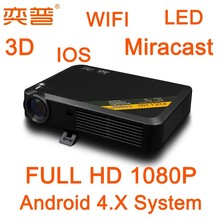 Portable 3D 1080P Mini Projector with Miracast DLNA Airplay function and 3D glasses and remoter