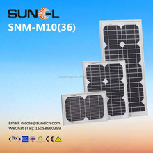 10W mini mono solar panel for 12V DC battery lighting