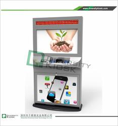 lcd led interactive kiosk monitor ticketing / internet / printer countertop kiosk kiosk metal keyboard with trackball