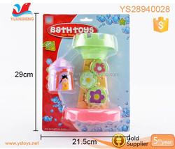 Funny baby toys plastic water wheel with castle bath play set