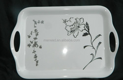 sketch printed flower melamine handled food serving tray plastic tray