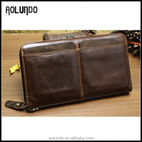 Mens fashion genuine leather custom mobile phone holder case wallet