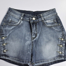 Black wash jeans short for women and ladies fashion with buttons application short