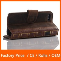 Factory Price Genuine Leather Stand Flip with Credit Card Design Book Case for iPhone 5