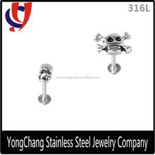 316l surgical grade steel skull labret ring