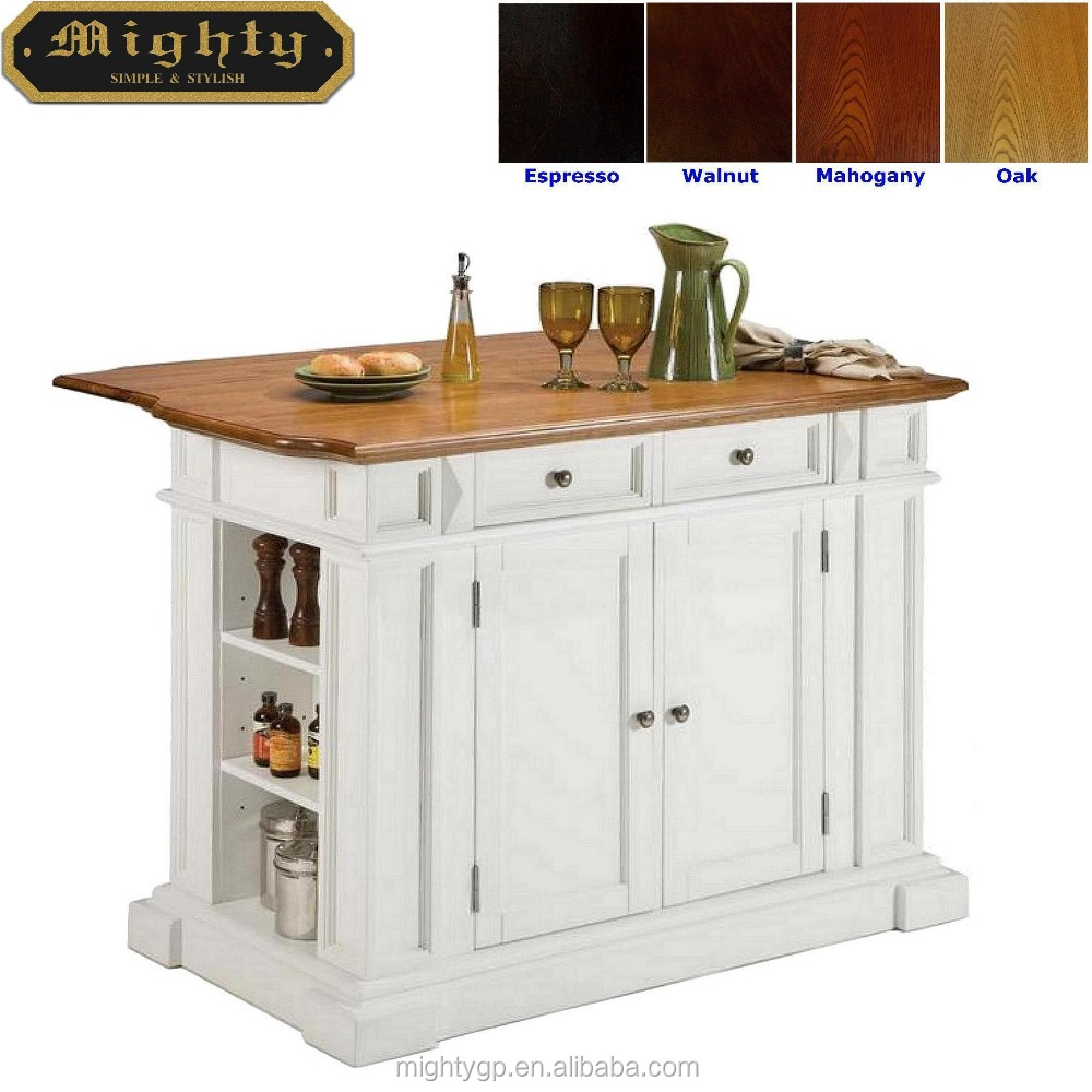 Assembly white amp natural top drop leaf kitchen island with side pier